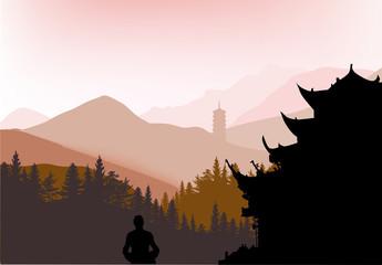 pagoda in dark mountain forest