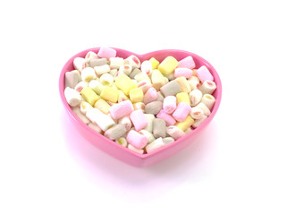 lots of little marshmallow in pink heart bowl