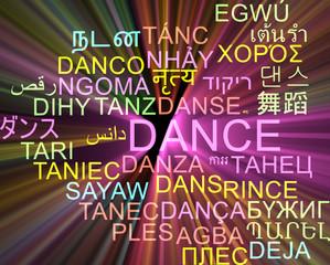 Dance multilanguage wordcloud background concept glowing