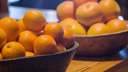 Selective focus on fresh oranges