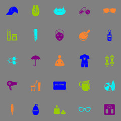 Facial and body treatment fluorescent color icons