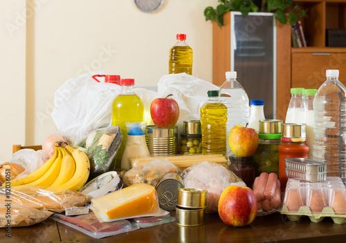 Tuinposter Koken Still life with foodstuffs of supermarket