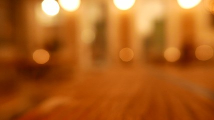 Defocused lights inside a restaurant