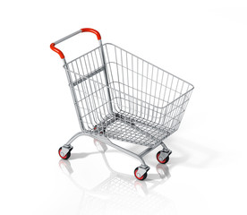 Empty shopping cart on white background.