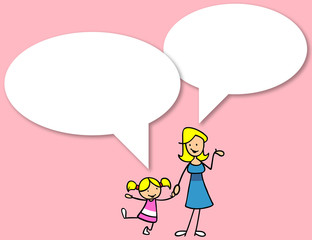 Mutter und Tochter reden miteinander