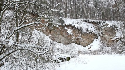 Landscape of a rocky forest in winter.