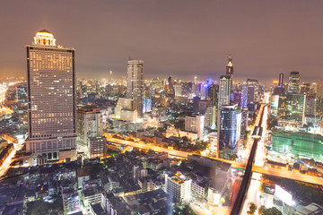 Sunset at Top view of Building, Bangkok, Thailand