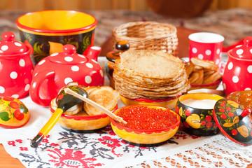 Russian Shrovetide meal - pancake