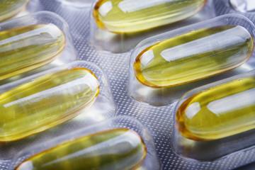 close up of omega 3 fish oil capusles