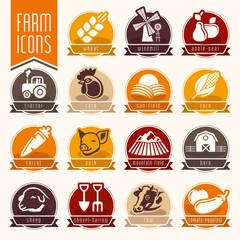 Farm and butcher shop icon set