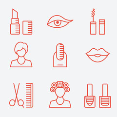 Makeup cosmetic product, thin line icons, flat design