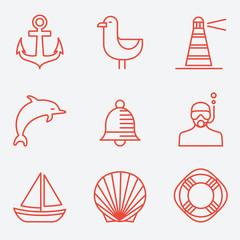 Marine icons, thin line style, flat design