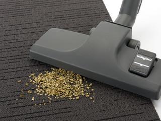 Staubsaugerdüse mit Schmutz auf Teppich