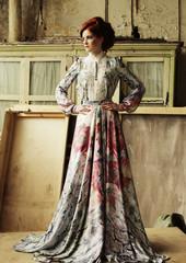 Elegant woman in romantic dress.
