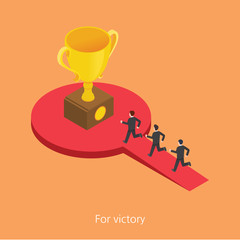 For victory concept design 3d isometric vector illustration