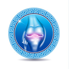 Leg knee joint in the round blue shape