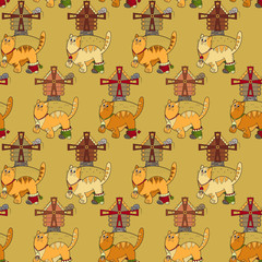 Seamless pattern with cats, mills and mouses