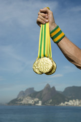 First Place Athlete Holding Medals Ipanema Beach Rio