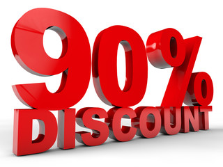 90% Discount over white background