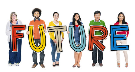 Group Diverse People Holding Word Future Concept