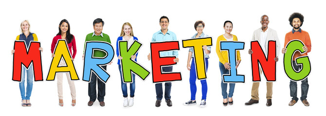Multiethnic Group People Holding Marketing Concept