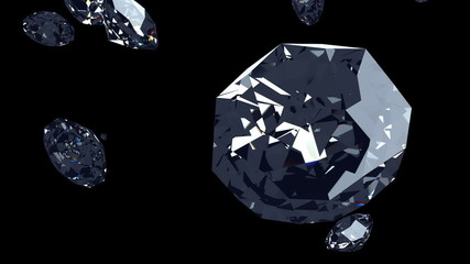 Glamorous diamond falling down, 3D rendered