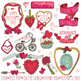 Mothers day decor elements set.Ribbons,labels,roses,hearts,lette