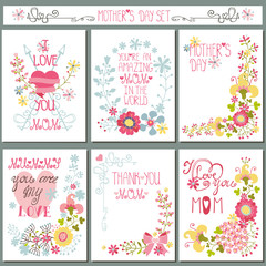 Vintage card set with floral decor.Mothers day