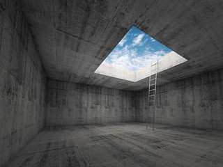 Ladder goes to the sky out from dark room interior, 3d