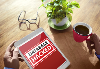 Database Hacked Warning Digital Device Wireless Browsing Concept