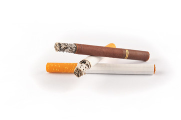 Three cigarettes on white background