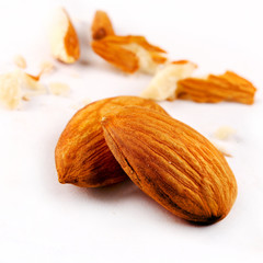 Close up of two almonds