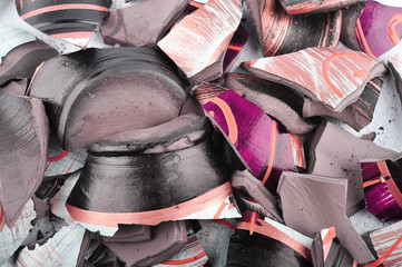 Pieces of a broken vase