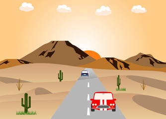砂漠の道路と車