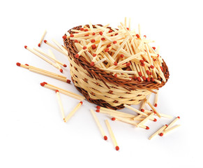 Pile of matches in a straw basket