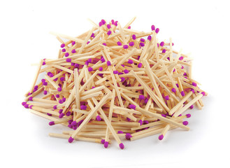 Pile of matches with purple tips