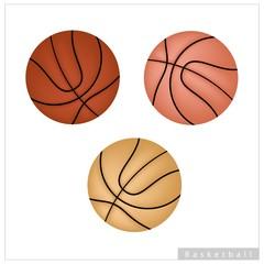 Set of Basketball Ball on White Background