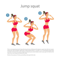 Sports girl in red shorts shirt doing jump squats