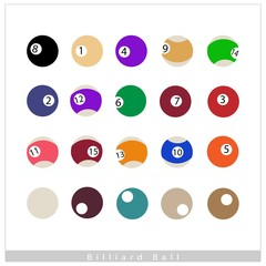 Complete Set of Billiard Balls on White Background