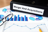 File folder with Merger and Acquisition and financial graphs. poster