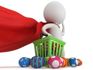 Brave superhero shopper with Easter Eggs
