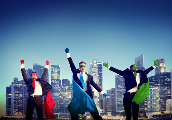 Superhero Businessman New York Concept