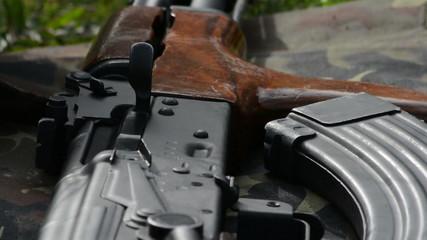 Ak 47 assault rifle rack focus