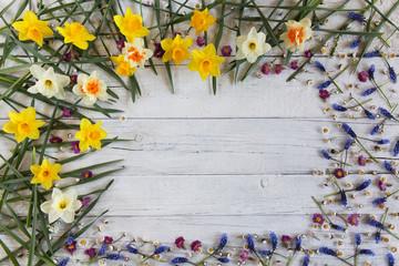 Flowers  on white wooden board