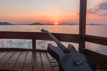 Gitarre Sonnenuntergang