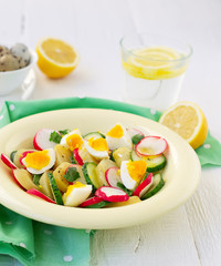 salad with cucumber, potatoes, radishes and eggs
