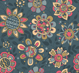 Vector seamless pattern with beautiful colorful flowers.