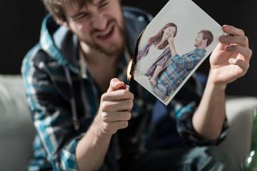 Burning photo with ex-girlfriend