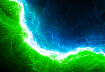 Green and blue electric lighting, abstract electrical background