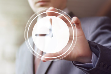 Businessman hand press clock time button icon.